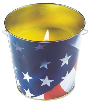 Lamplight Farms 1412122 16 oz American Flag / Patriotic Citronella Patio Candle Buckets - Quantity 12 - American Flag Candles