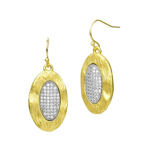 Matte Gold Brushed Oval with Micro Pave CZ Dangle Earrings