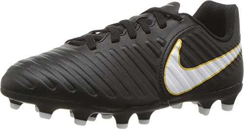 (Nike Kids Jr. Tiempo Rio IV (FG) Firm Ground Soccer Cleat Black/White Size 6 M US)