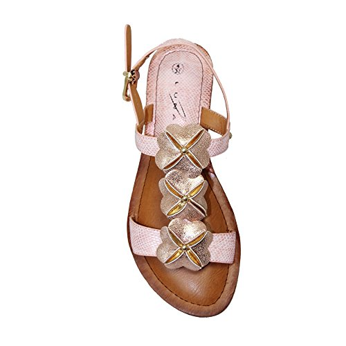 Lunar Women's Clarabelle Flower Sandal in White, Rose Gold, Pewter Or Gold Sizes 3,4,5,6,7,8,36,37,38,39,40,41 Rose Gold