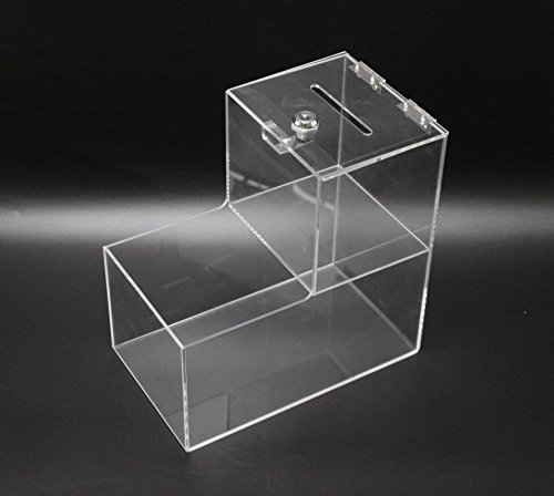 Fixture Displays Locking Acrylic Fundraising Donation Coin Box Container with Cam Lock + Product Compartment 15944