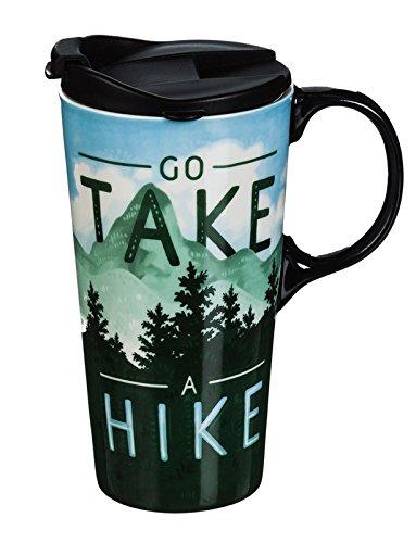 Takes Mug - Cypress Home Ceramic Travel Coffee Mug with Matching Gift Box, Go take a Hike, 17 Ounces