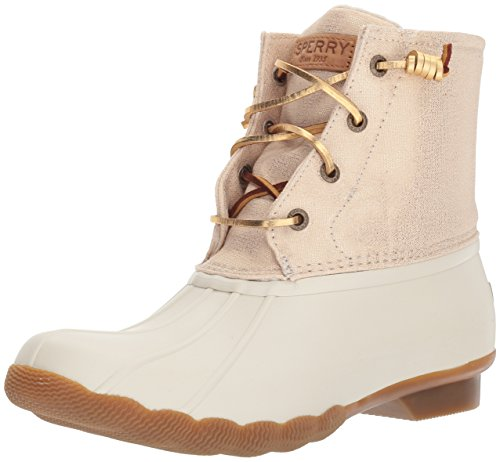 SPERRY Women's Saltwater Sparkle Rain Boot, Oat/Gold, 8.5 Medium US