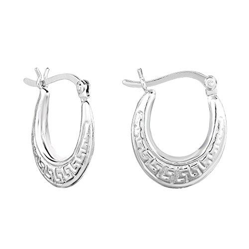 (Tilo Jewelry Sterling Silver Greek Key Oval Hoop Earrings)