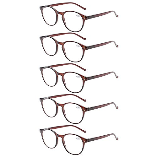 5 Pairs Reading Glasses - Standard Fit Spring Hinge Readers Glasses for Men and Women (5 Pack Brown, 1.75)