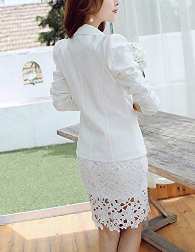 Leisure Autunno Manica Di Moda Donna Confortevole Formale Bianca Bavero Giubotto Camicia Outerwear Lunga Button Suit Monocromo wRCqHOaax