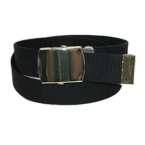 CTM Kids' Cotton Adjustable Belt with Brass Military Buckle (Pack of 2), Black (Belt Black Brass Buckle)