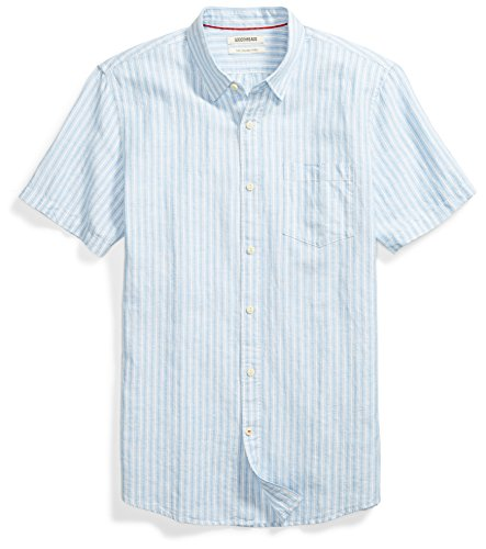 Goodthreads Men's Slim-Fit Short-Sleeve Linen and Cotton Blend Shirt, Light Blue/Multi Stripe, Large ()