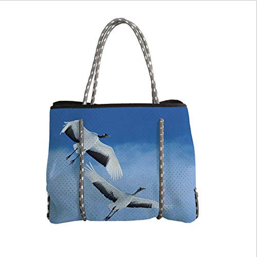 iPrint Neoprene Multipurpose Beach Bag Tote Bags,Bird,Two Red Crowned Crane with Open Wings Flying in Clear Sky Japanese Animal Duo,Blue White Black,Women Casual Handbag Tote - Supplies Party 2 Birthday Rio