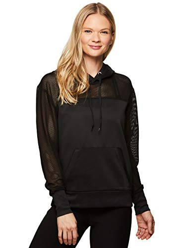 RBX Active Women's Athletic Workout Long Sleeve Pullover Hoodie Black Mesh M