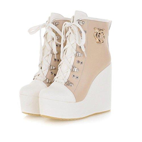 tacchi tessuto beige Colore Scarpe donna 10cm toe Casual 4U® Stringa PU Round Style Martin Best Scarpe Stivali alti in da qv0x8HF