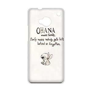 DiyCaseStore Custom Disney Animation Lilo and Stitch HTC One M7 Case Cover - Ohana means family,family means nobody gets left behind,or forgotten.
