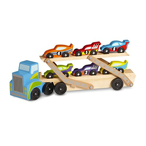 Melissa & Doug 12759 Mega Race-Car Carrier - Wooden Tractor and Trailer With 6 Unique Race Cars, Multicolor