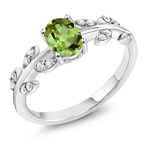 925 Sterling Silver Green Peridot Olive Vine Women's Ring 1.01 Ct Oval Gemstone Birthstone (Size (Olive Green Cocktail Ring)