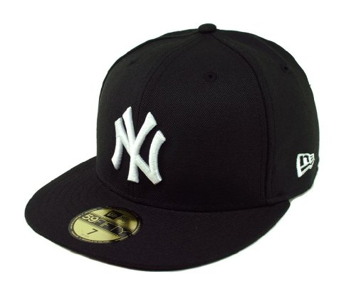 White 59fifty Fitted Cap - MLB New York Yankees Black with White 59FIFTY Fitted Cap, 7 3/8