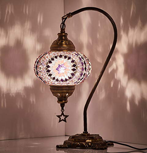 18 Variations Newest CopperBull 2018 Turkish Moroccan Tiffany Style Handmade Mosaic Table Desk Bedside Night Swan Neck Lamp Light Lampshade, 42cm 11