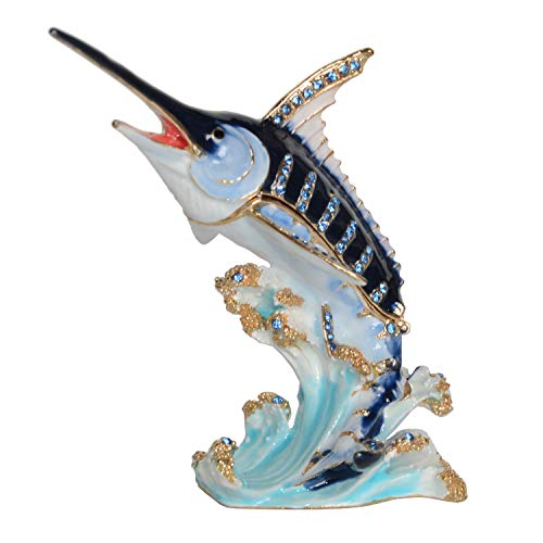 Blue Marlin Fish Jeweled Trinket Jewelry Box Nautical Figurine Vintage Decoration Ring Holder Creative Gifts