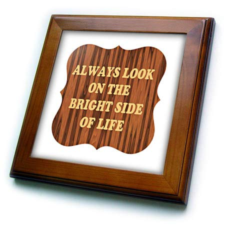 (3dRose AMansMall Inspirational Typography - Always Look on The Bright Side of Life, Inspirational, 3drsmm - 8x8 Framed Tile (ft_292740_1))