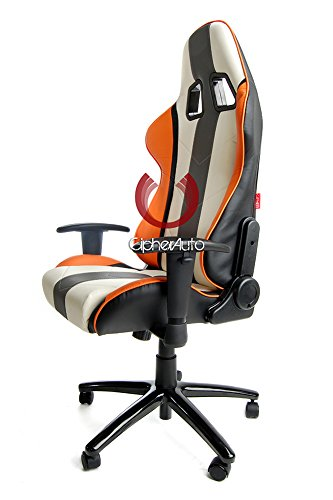 414%2BW6UiWmL - Cipher-Auto-Office-Racing-Seat-White-Leather-w-Gray-Orange-Stripes-Single
