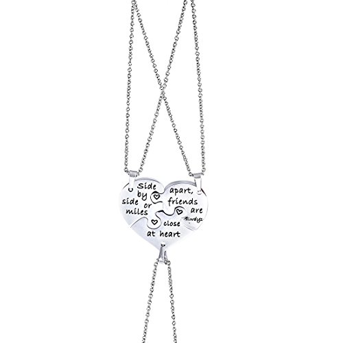 Anlive 3 Best Friend Necklace Side by Side Or Miles Apart Puzzle Piece Necklace Set of 3 (Silver)