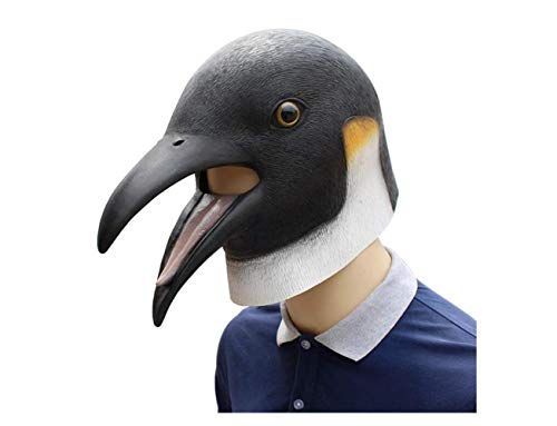 Halloween Penguin Latex Mask Animal Mask Horror Bird Head Mask for Adult Halloween Cosplay Costume,A,A -