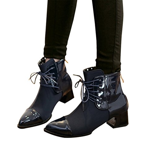 Blue Heel Boots Shoes Ankle Winter Patchwork Boots Leather Fashion Chunky Zip Pointy Women's Bootie Toe 6wFqU