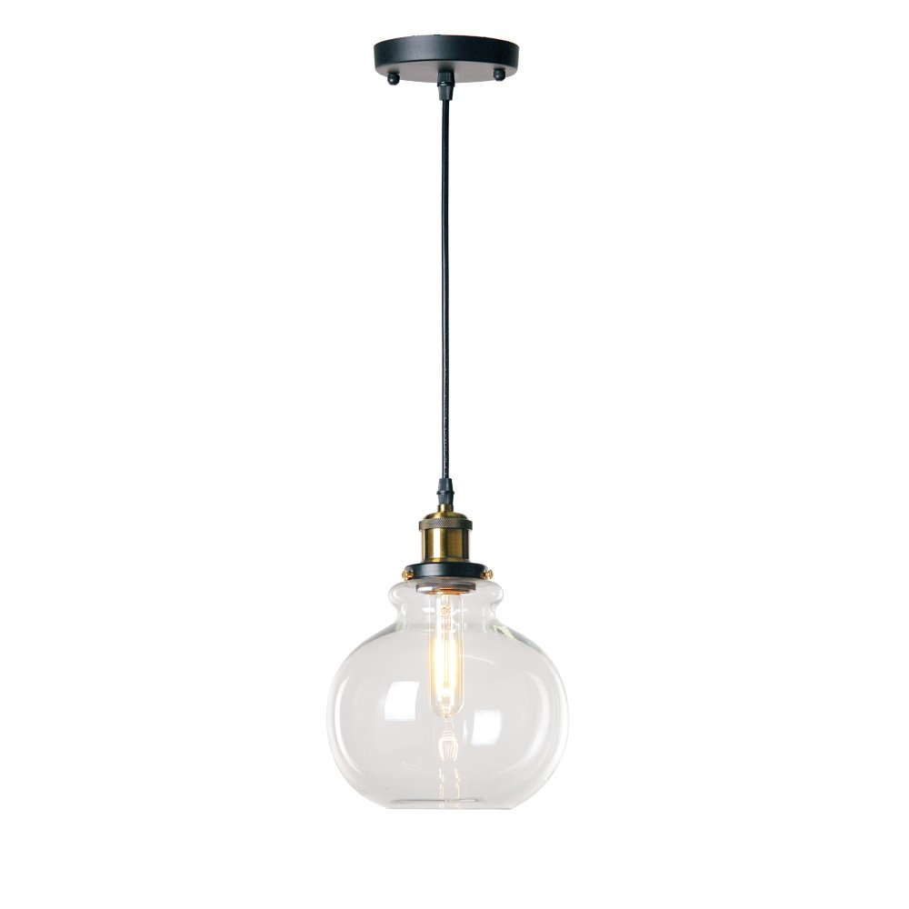 Wereal Vintage Industrial Hanging Light, Clear Glass Pendant Lighting, Adjustable Height, E26 Base Modern Home Dormitory Hanging Lamp