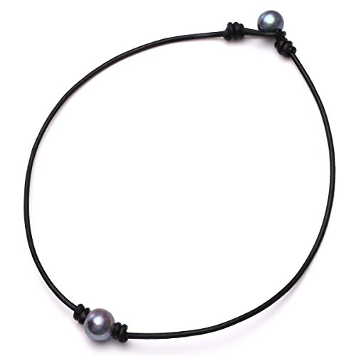 Aobei One Black Cultured Freshwater Pearl Choker Leather Necklace on Genuine Leather Cord Handmade for Girls-16