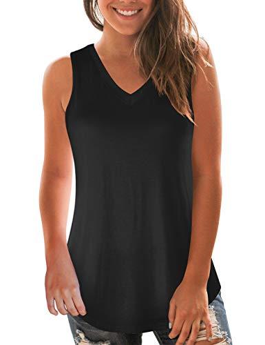 Sleeveless Black (Black Tanks for Women's Sleeveless Basic V-Neck Loose Fit Summer Tee Tops L)