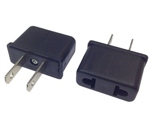 ANRANK E-U1009306AK EU to US AC Power Travel Charger Outlet Plug Converter Adapter (Black, - Outlet Branded Singapore