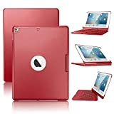 iPad Keyboard Case Bluetooth Wireless Keyboard Backlit Tablet Carrying 360°Rotating Back Cover-Aluminum for iPad 2017(5th Gen)/2018 New iPad(6th Gen)/Air/Air2/iPad Pro 9.7 … (Red)