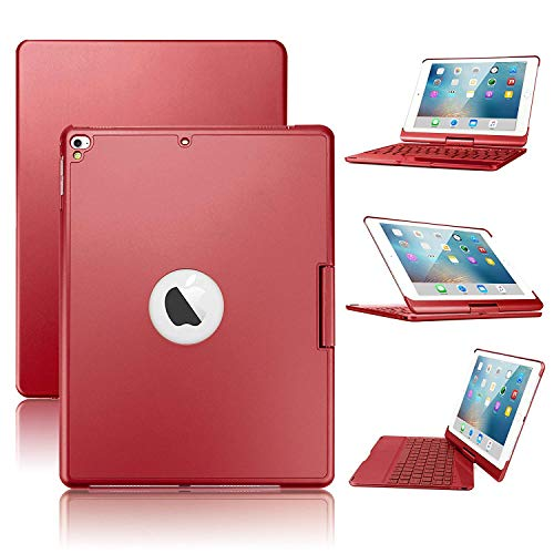 iPad Keyboard Case Bluetooth Wireless Keyboard Backlit Tablet Carrying 360°Rotating Back Cover-Aluminum for iPad 2017(5th Gen)/2018 New iPad(6th Gen)/Air/Air2/iPad Pro 9.7 … (Red) by HDSee
