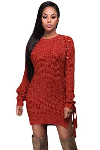 Nuevo color naranja de la mujer Chunky Knit Jersey Vestido Con sintética encaje hasta oficina vestido casual noche fiesta wear tamaño M UK 10–�?2EU 38–�?0