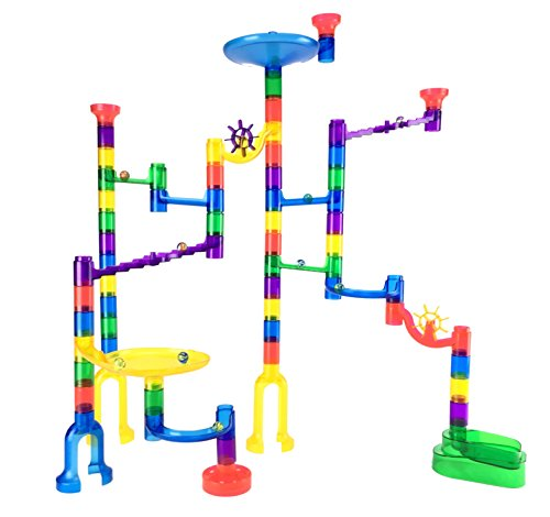 Marble Genius Marble Run Starter Set - 60 Translucent Marbulous Pieces + 10 Glass Marbles