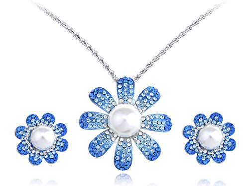 Alilang Sapphire Faux Pearl Center Daisy Swarovski Crystal Element Earring Necklace Set Crystal Daisy Necklace Earrings