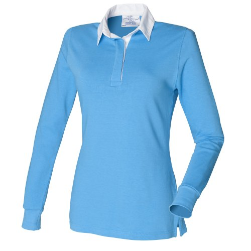 front-row-womens-ladies-long-sleeve-plain-sports-rugby-polo-shirt-xl-surf-blue-white