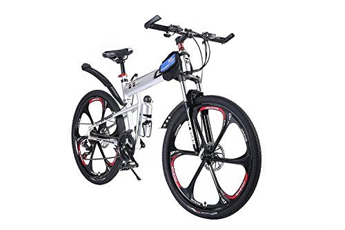 OPATER MTB Mountain Bike 26″ 24 Speed Sturdy Carbon Steel Frame Bike For Men and Women (Silver) Image