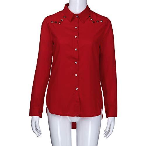 VJGOAL Pure Rouge Plus Chemisier Blouse Femmes Bouton Chemisier Longues Nouveau Taille Plein Cou Couleur Femme Manches Tops Chic LaChe V rTznrxw6