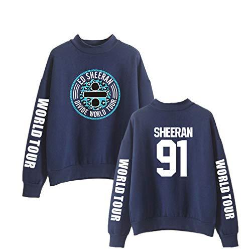 Ed Oversize Yuanou Casuale Sheeran Uomo Sportive Donna Felpe Blu3 qwqSpAvnE