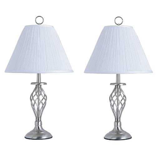 Park Madison Lighting PMT 1801 16 26 1/4 Inch Tall 2 Piece Table Lamp Set,  Satin Nickel With Soft Pleated Shades