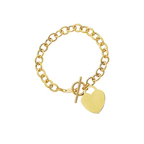 14kt Yellow Gold Rolo Charm Link Bracelet with Heart Charm and Toggle lock 7.5