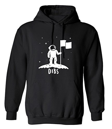 T-Shirt Paradise Dibs Flag on The Moon Astronaut Space Stars Funny Graphic Design Hoodie - 2X-Large (Black)