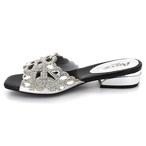 Argent Diamante Le Bloquer Chaussures des Taille Talon mariée Glisser Femmes Cristal Dames Mariage de sur Bal Soir Fête Sandales De xwR1O7
