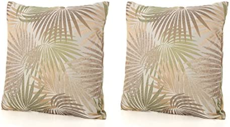 GDFStudio Corona Outdoor Square Tropical Water Resistant Pillow 2, Tropical Sand