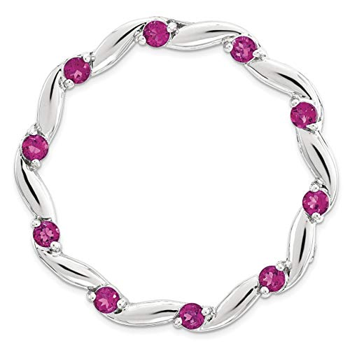 - Lex & Lu Sterling Silver Stackable Expressions Large Polished Created Ruby Chain Slide-Prime
