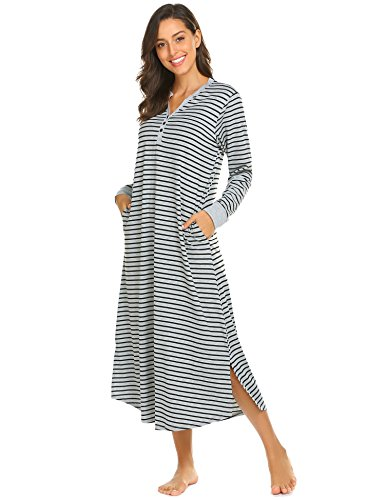 (Ekouaer Women's Striped Nightdress,Long Loungewear Nightgown (Grey Black Striped, Medium))
