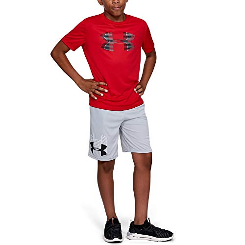 Under Armour boys Tech Big Logo Solid T-Shirt, Red (600)/Black, Youth Medium (Boys Red Shirt)