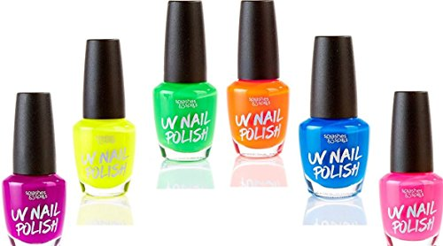 And Lipstick Black Polish Kit Nail (UV Glow Blacklight Nail Polish - 6 Color Variety Pack, 13ml – Day or Night Stage, Clubbing or Costume Makeup by Splashes &)