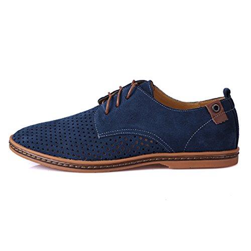 YiJee Klassiker Oxford Schuhe Freizeit Schnürhalbschuhe für Herren Himmel Blau
