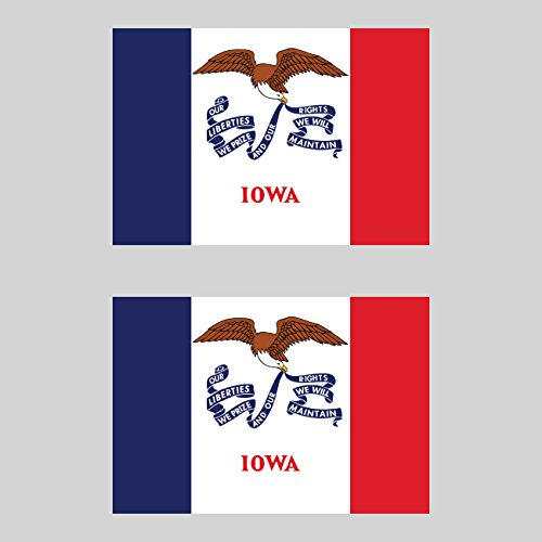 Two Pack Iowa Flag Sticker FA Graphix Decal Self Adhesive Vinyl our liberties we prize hawkeye